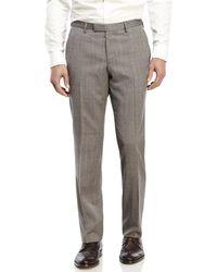 BOSS - Gray Grey Flat Front Wool Dress Pants for Men - Lyst