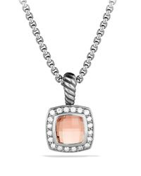 David Yurman - Metallic Petite Albion Pendant With Morganite And Diamonds On Chain - Lyst