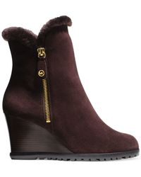 Michael Kors | Purple Michael Whitaker Wedge Booties | Lyst