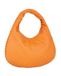 Bottega Veneta | Orange Small Intrecciato Veneta Hobo Bag | Lyst
