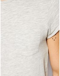 ASOS   Gray T-Shirt With Loose Knit Jersey And Roll Sleeve for Men   Lyst