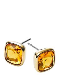 Michael Kors | Metallic Cushion Stone Stud Earrings | Lyst