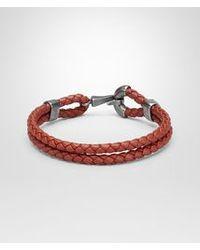 Bottega Veneta Burnt Red Intrecciato Oxidized Silver Nappa Bracelet for men