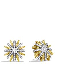 David Yurman Metallic Starburst Extra-small Earrings With Diamonds In Gold