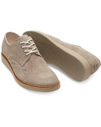 TOMS - Natural Desert Taupe Suede Men's Brogues for Men - Lyst