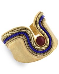 Vince Camuto - Blue Gold-tone Beaded Drama Cuff Bracelet - Lyst
