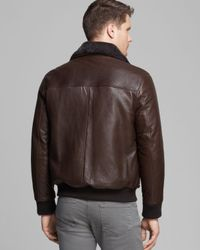 Andrew Marc Brown Felix Rugged Leather Shearling Bomber for men