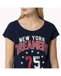 Tommy Hilfiger | Blue Cotton Printed T-shirt | Lyst