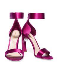 Nicholas Kirkwood Purple Maeva Embellished Satin Sandals