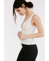 Project Social T - White Lace-up Ribbed Tank Top - Lyst