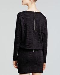 Aqua - Black Sweatshirt - Cable Double Knit Crop - Lyst