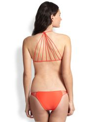 Mikoh Swimwear Orange Skinny String Racerback Top
