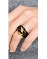 Alexis Bittar - Metallic Orbiting Leather Ring - Black/Gold - Lyst