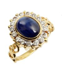 Amrapali - Diamond And Oval Blue Sapphire Ring - Lyst