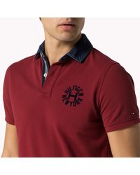 Tommy Hilfiger | Red Cotton Pique Slim Fit Polo for Men | Lyst