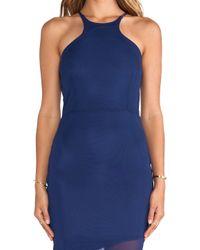Donna Mizani Blue Mid Length Racer Front Dress