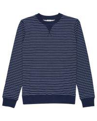 Sunspel - Blue Long Sleeve Overprint Sweatshirt - Lyst