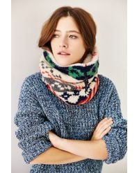 Urban Outfitters Green Camp Sherpa Funnel Scarf