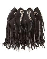 Saint Laurent - Black Fringed Chain Bucket Shoulder Bag - Lyst