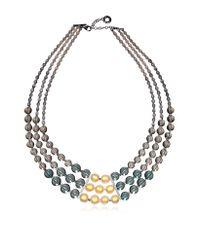 Antica Murrina Gray Atelier Nuance - Grey & Amber Murano Glass Choker