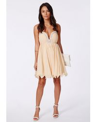 Missguided Natural Virginia Chiffon Bejewelled Bandeau Skater Dress Nude