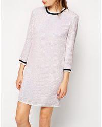 ASOS - Metallic Iridescent Sequin Tunic Dress With Rib - Lyst