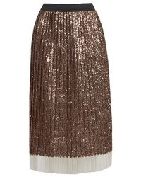 TOPSHOP Metallic Sequin Pleated Midi Skirt