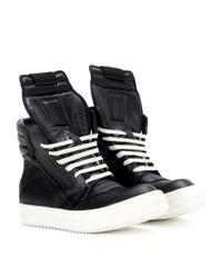 Rick Owens Black Geobasket Leather High-top Sneakers