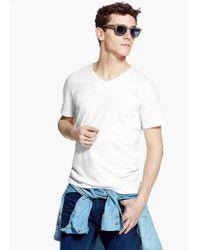 Mango Gray Slub-Cotton T-Shirt for men