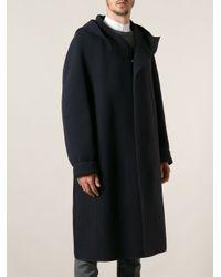 Lanvin - Blue Hooded Coat for Men - Lyst
