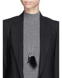Alexander McQueen | Metallic Mink Fur Skull Horn Pendant Necklace | Lyst