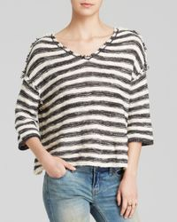 Free People | Black Spells Trouble Stripe Pullover | Lyst