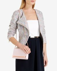 Ted Baker - Pink Patent Crosshatch Clutch Bag - Lyst