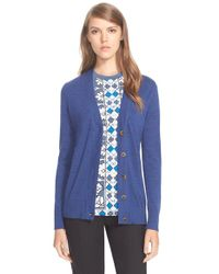 Tory Burch | Blue 'simone' Wool Cardigan | Lyst