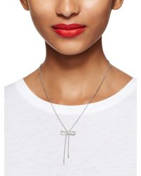 kate spade new york - Metallic Dainty Sparklers Bow Y Necklace - Lyst