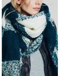 Free People | Blue Killington Oversized Plaid Scarf | Lyst