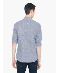 Mango - Blue Slim-fit Micro-houndstooth Shirt for Men - Lyst