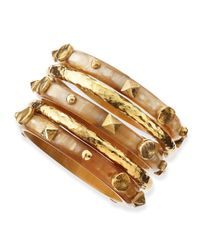 Ashley Pittman | Metallic Sura Light Horn Bangles | Lyst