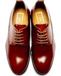 AMI Mahogany Brown Leather Derby Shoes for men