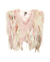TOPSHOP Womens Festival Feather Gilet Pink