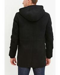 Forever 21 - Black Wool-blend Hooded Coat for Men - Lyst