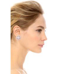 Kenneth Jay Lane Metallic Pave Flower Earrings