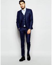 Noak | Blue Waistcoat In Super Skinny Fit for Men | Lyst