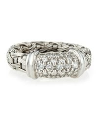 Roberto Coin - Metallic 18k White Gold Woven Diamond Ring Size 65 - Lyst