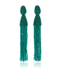 Oscar de la Renta Green Long Beaded Tassel Clip On Earrings