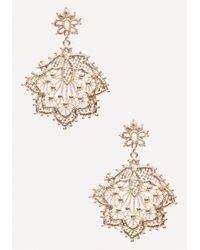 Bebe - Metallic Metal Lace Earrings - Lyst
