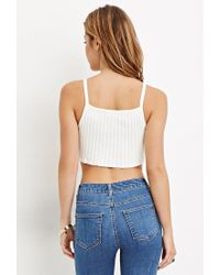 Forever 21 | White Ribbed Knit Cropped Cami You've Been Added To The Waitlist | Lyst