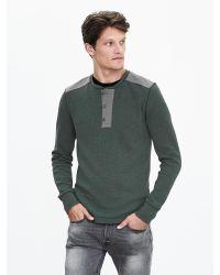 Banana Republic | Gray Waffle-knit Henley for Men | Lyst