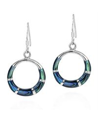Aeravida | Blue Chic Open Circle Abalone Inlay .925 Silver Dangle Earrings | Lyst