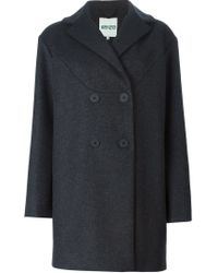 KENZO - Gray Double Breasted Coat - Lyst